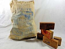 VINTAGE WOOD BLOCKS Holgate Railroad Train 40 Pieces with Canvas Storage Bag