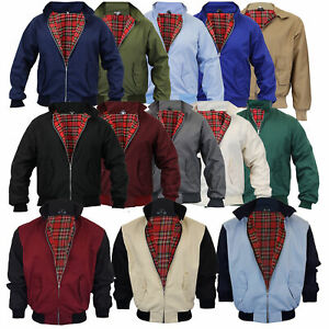 Mens-Harrington-Jacket-Coat-Retro-Vintage-Bomber-Tartan-Check-Lined-Two-Tone-New