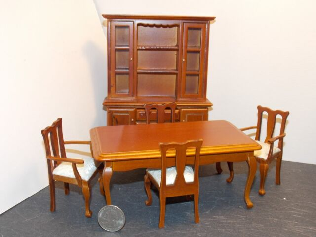 Dollhouse Miniature Dining Room Set 6 Pc Walnut 1 12 Scale K44 N3 Dollys Gallery