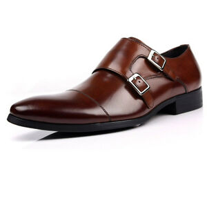 New-Mens-real-leather-Formal-shoes-Double-Monk-Strap-Buckle-Shoes-brown