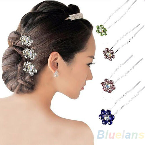 20Pcs Trendy Crystal Rhinestone Party Bridal Flower Hair Clip Pins Hairpin BA7A
