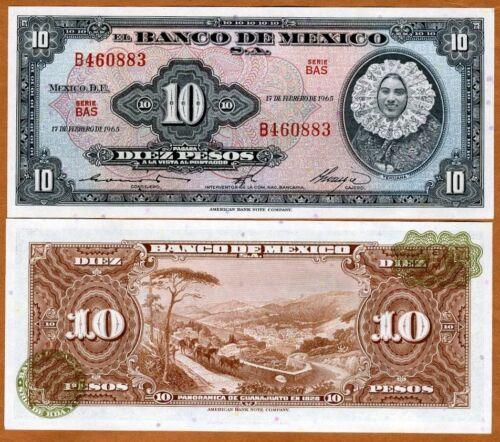 UNC 58k Mexico 10 Pesos 1965 P-58