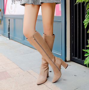 Womens Suede Knee High Boots Pointed Toe Side Zip Chunky High Heels Warm Shoes