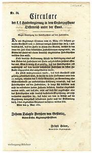 K-u-K-Circular-reglement-mai-1832-marquage-de-sucre-chapeaux