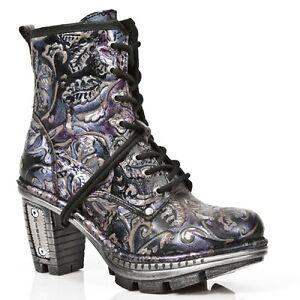 Details zu New Rock Damen Leder Biker Boots Vintage m.NE0T008 S4