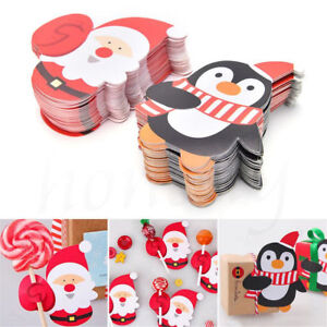 25-50pcs-Christmas-Lollipop-Sticks-Paper-Candy-Chocolate-Cake-Xmas-Decor-Gift-AU