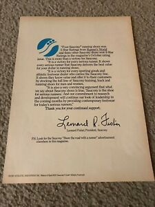 RARE-1979-SAUCONY-Poster-Print-Ad-THANK-YOU-LETTER-FROM-PRESIDENT-LEONARD-FISHER