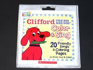 Details about Scholastic Clifford The Big Red Dog Color & Sing 20 Songs  Coloring Pages CD b