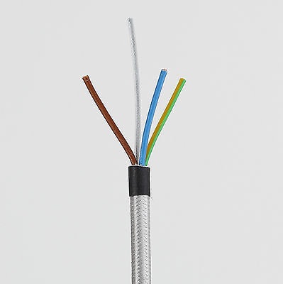 Textilkabel Stoffkabel Lampen-Kabel 3x1,0 mit Stahlseil Stromkabel Elektrokabel