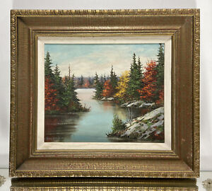 VTG. Canadian Fall Landscape Signed Mary Kendrick Oil Painting Signed Dated