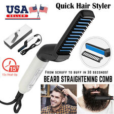 Hair Straightener Men Multifunctional Comb Curling Electric Brush Beard Comb US