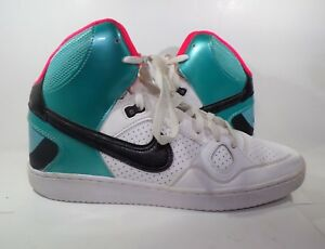 Details about Nike Son Of Force Mid Tops Atomic White Black Pink Teal Basketball Shoes Size 11