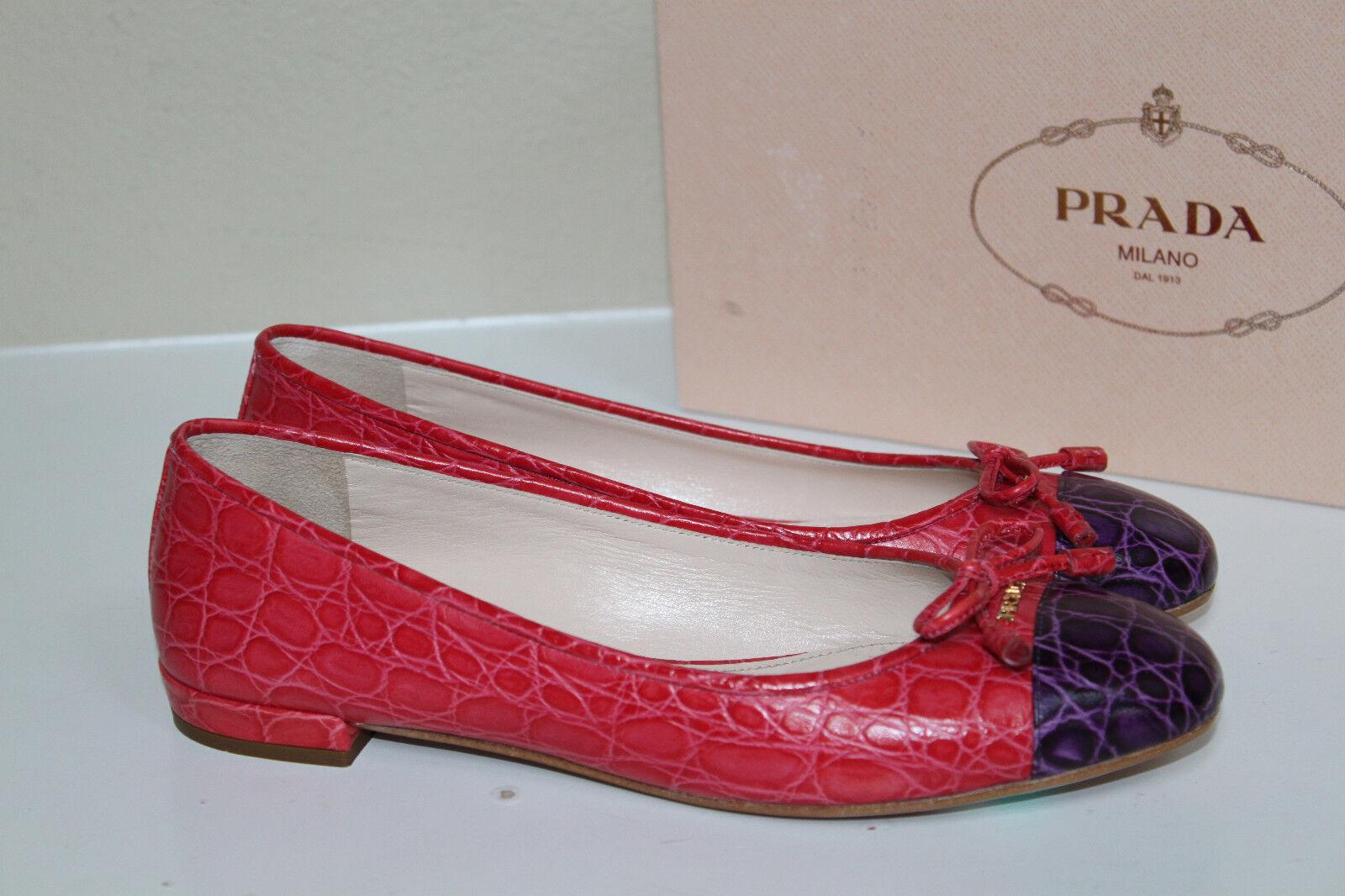 Nuevo 6.5 36.5 rosado Prada Croco de cuero con con con logotipo Ballet Zapatos Planos Clásico Puntera  barato y de moda