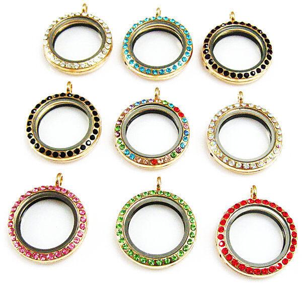 U-pick Color crystal Living Memory Floating Golden round Locket Pendant Necklace