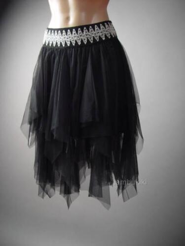 Women Black Tulle Dark Fairy Goth Handkerchief Tutu Full 220 mv Skirt S M L XL
