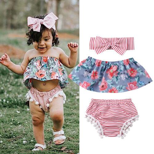 3pcs Newborn Toddler Baby Girl Summer Clothes Tank Tops+Shorts Pants Outfits Set