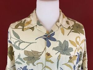 Modern-Images-100-Silk-Ivory-Floral-Hawaiian-Aloha-Camp-Shirt-Mens-Large