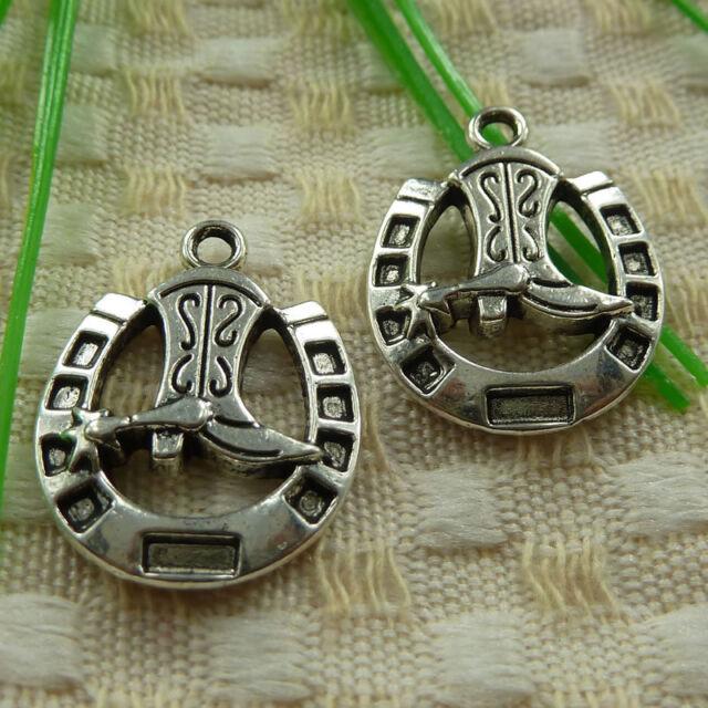 free ship 120 pcs tibetan silver boot charms 25x19mm #3734