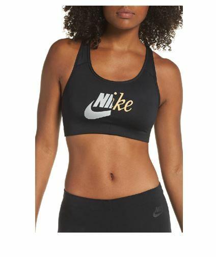 Nike Womens Sports Bra Metallic Logo Racerback Stretch Swoosh Dri Fit Black Xs For Sale Online Ebay