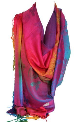 Floral Print Rainbow Colours Large Pashmina Feel Wrap Scarf Shawl Hijab