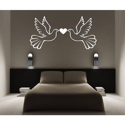 Doves /& Love Heart Vinyl Wall Sticker Decal 21 Colours Wife Husband Decor Bed