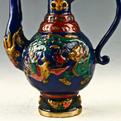 Collection Chinese Cloisonne Hand-carved Dragon /& Phoenix Teapot Qianlong Mark