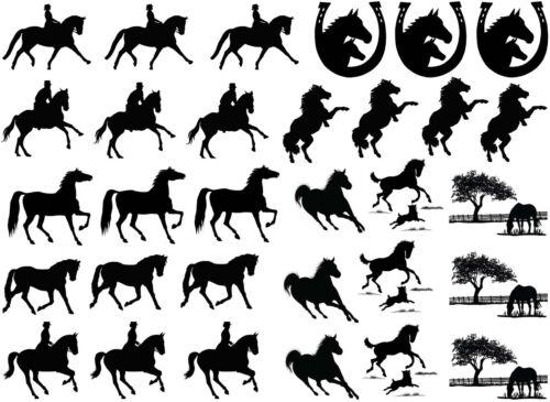 "Black Horse Rider Horseshoe 5/""X7/"" Card Fused Glass Decals 18CC304"