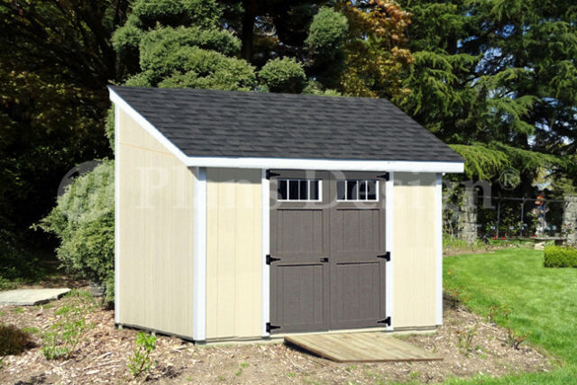 8/' x 14/' Backyard Deluxe Storage Shed Plans Lean-To Roof  Style Design #D0814L