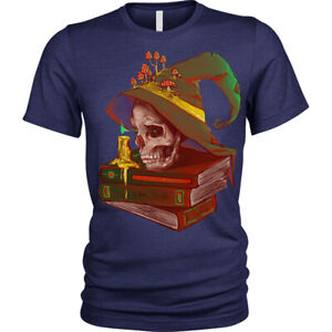 Death-039-s-night-T-Shirt-skull-spell-book-wizard-magic-Unisex-Mens