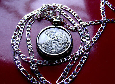 "New Zealand Tuatara Lizard 5 Pendant On A 28"" Sterling Silver Figaro Chain Cheap Sales Coins & Paper Money New Zealand"