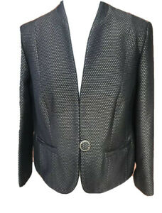 Country Casuals Blazer Black Gold Polka Dot Vintage Style Smart Plus Size 18