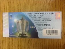 03/11/2013 Ticket: Rugby League - World Cup - Scotland v Italy [At Workington To