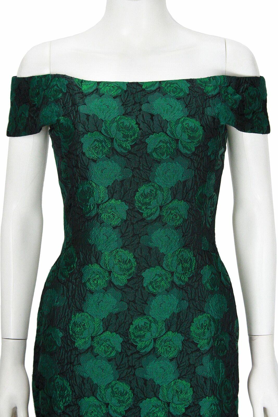 ARNOLD SCAASI 1980s Dark Green Floral Brocade Gow… - image 7