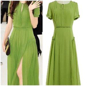 Green-Chiffon-Bohemian-Crepon-Floral-Ruffle-Peplum-Hem-Pleated-Dress