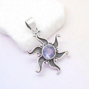 Iolith-rund-blau-Sonne-Stern-Design-Amulett-Anhaenger-925-Sterling-Silber-neu