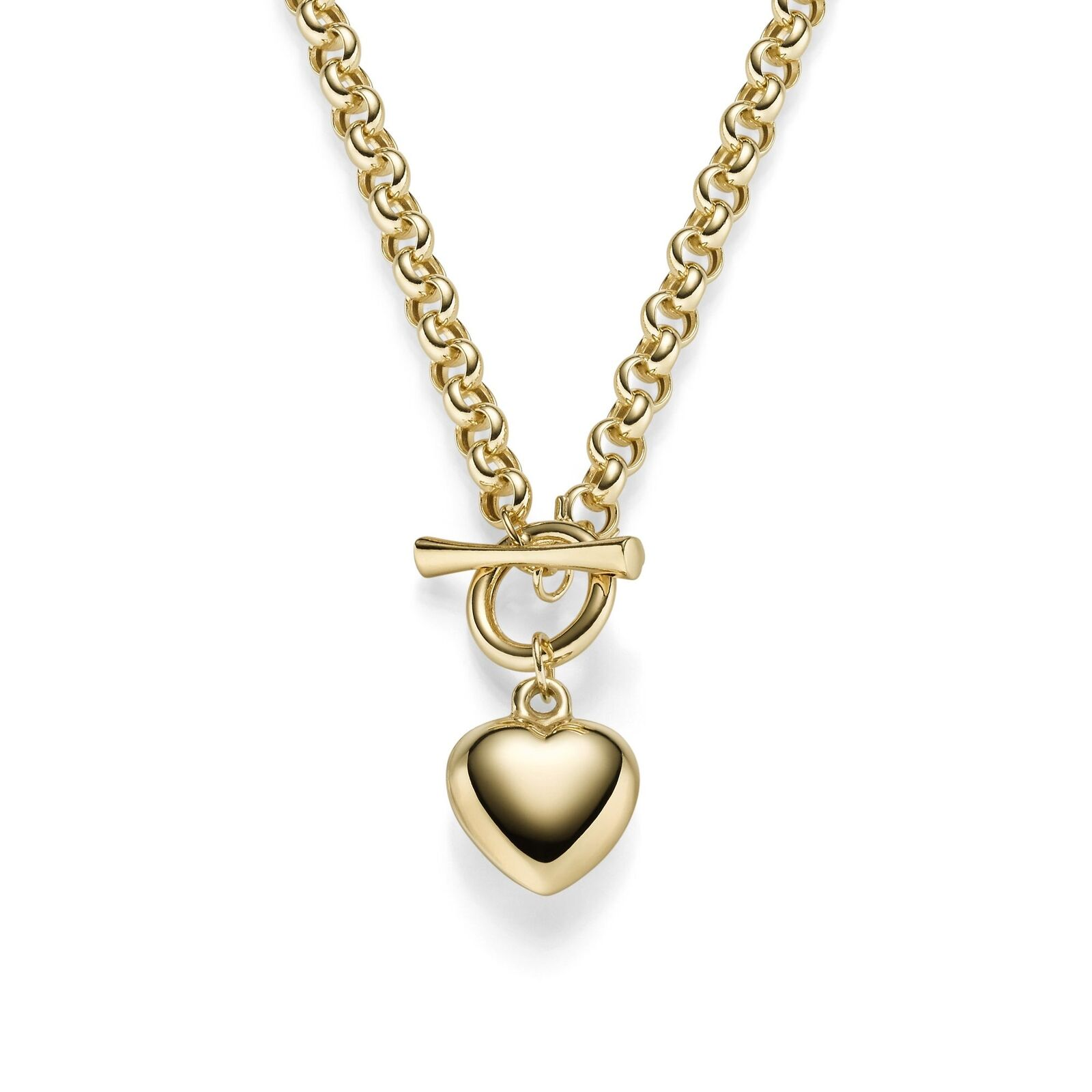 0 7 32in Bracelet Pea Chain with Heart Pendant 585 gold Yellow Wrist Jewellery