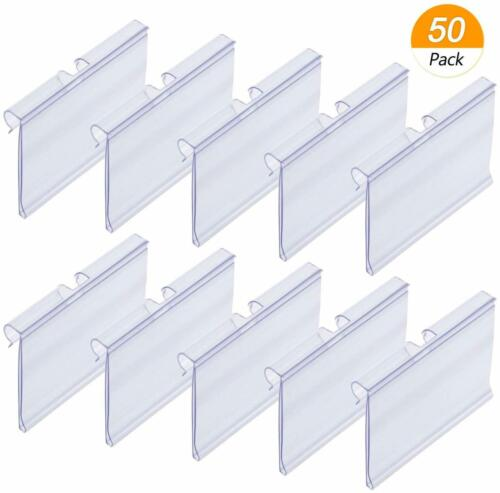 50x Clear Plastic Label Holders Wire Shelf Retail Price Label Merchandise Sign