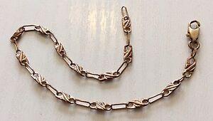 Pretty-Ladies-Unusual-Link-Vintage-9ct-Rose-Gold-Bracelet-Very-Nice