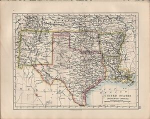 Map Of Texas New Mexico.Details About 1914 Map United States South West Central Texas New Mexico Oklahoma Arkansas