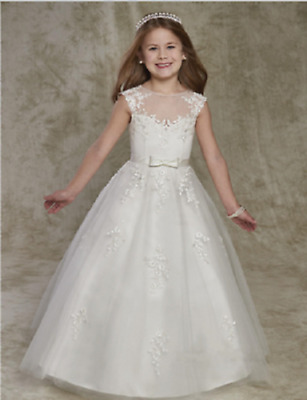 Lace Long Sleeve Flower Girl Dress For Wedding Bridesmaid Baptism Communion Gown