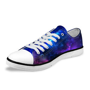 galaxy space womens mens casual low top canvas shoes