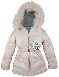 NUOVO-Autentico-ELSY-RRP-279-eta-7-anni-Girls-Rosa-Pelliccia-Down-Jacket-Coat-JK16