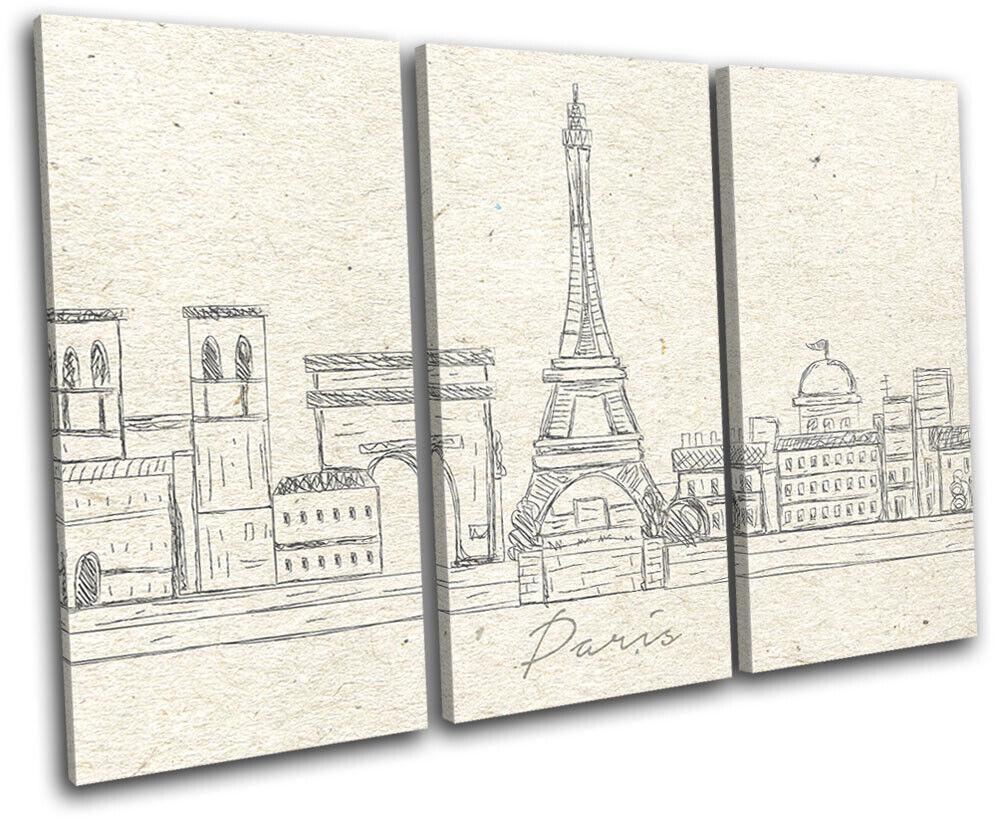 Paris Landmarks City Sketch Illustration TREBLE Leinwand Kunst Bild drucken