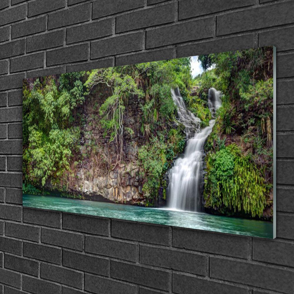 Image sur verre Tableau Impression 100x50 Nature Chute D'eau Roche