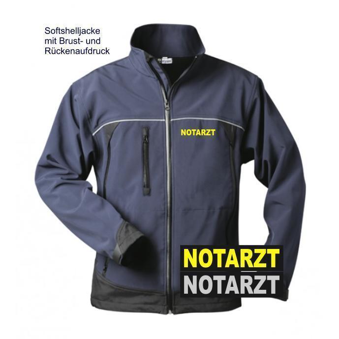 NOTARZT Jacke   NOTARZT Softshell Jacke navy Brust- + Rückenaufdruck Neu