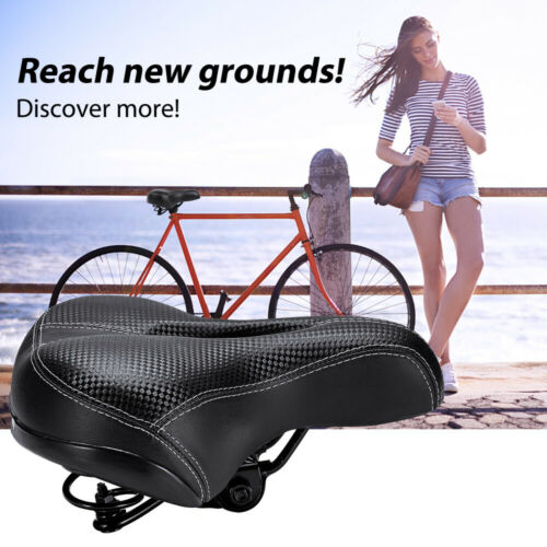 New Dual-spring Bike Bicycle Wide Big Bum Soft Extra Comfort Saddle Seat Pad US