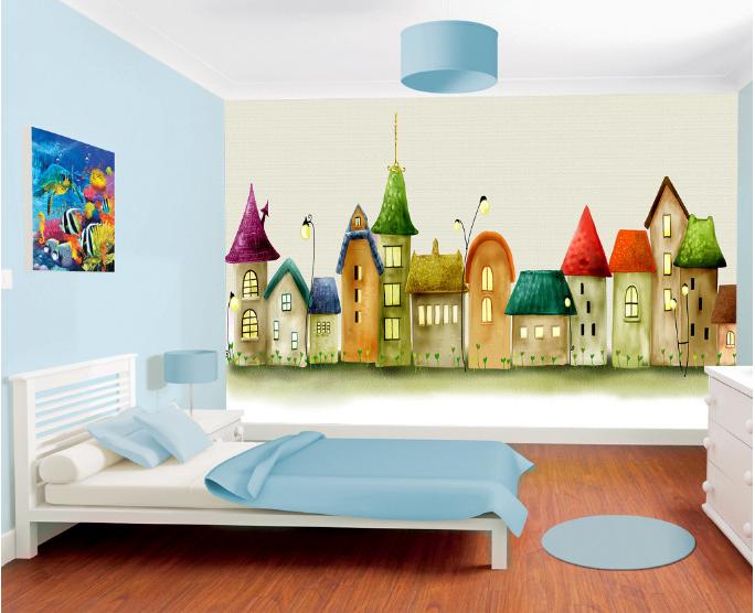 3D Bemalte Häuser Muster 8905 Tapete Wandgemälde Tapeten Bild Familie DE Summer