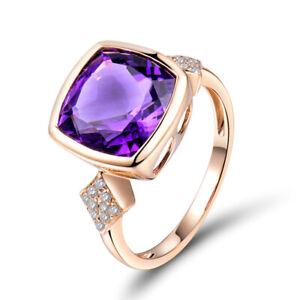 18K-Rose-Gold-10mm-Cushion-Amethyst-amp-Diamonds-Engagement-Wedding-Vintage-Ring
