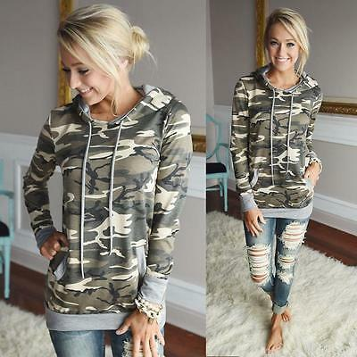 Womens Camouflage Printing Pocket Hoodie Sweatshirt Hooded Pullover Tops Blouse