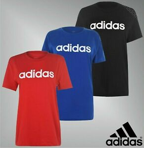 Ladies-Adidas-Short-Sleeves-Crew-Linear-Boyfriend-QT-T-Shirt-Sizes-from-8-to-26